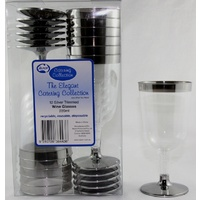 Plastic Wine Glass (Silver Trim) - Pack Of 12
