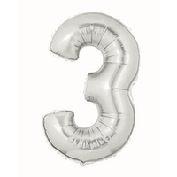 #3 Jumbo 40 Metallic Silver Shape Balloon