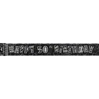 """Happy 50th Birthday"" Glitz Black & Silver Foil Banner - 3.6m Long"