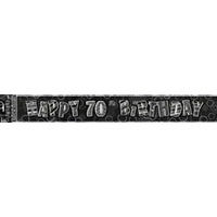 """Happy 70th Birthday"" Glitz Black & Silver Foil Banner - 3.6m Long"