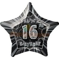 16th Birthday Star - Foil Balloon 50cm (Glitz Black and Silver)