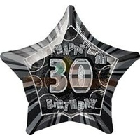 30th Birthday Star - Foil Balloon 50cm (Glitz Black and Silver)
