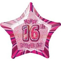 "20"" Happy 16th Birthday - Pink Glitz Foil Balloon"