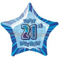 "20"" Happy 21st Birthday - Blue Glitz Foil Balloon"