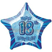 "20"" Happy 18th Birthday - Blue Glitz Foil Balloon"