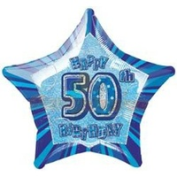 "20"" Happy 50th Birthday - Blue Glitz Foil Balloon"
