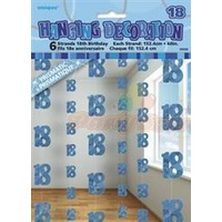18th Hanging Decorations (6 strands x 1.5m) - Blue Glitz