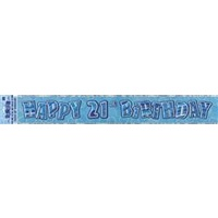 """Happy 21st Birthday"" Blue Glitz Banner - 3.6m Long"