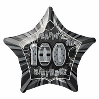 100th Birthday Star-Foil Balloon 50cm (Black Glitz)