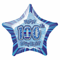 100th Birthday Star-Foil Balloon 50cm (Blue Glitz)