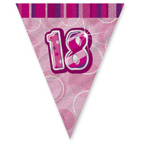 18th Flag Banner (Pink Glitz) - 3.6m long