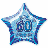 60th Birthday Star - Foil Balloon 50cm (Blue Glitz)