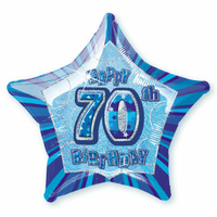 70th Birthday Star - Foil Balloon 50cm (Blue Glitz)
