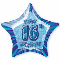 16th Birthday Star - Foil Balloon 50cm (Blue Glitz)