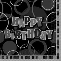 Black Glitz Happy Birthday Lunch Napkins - Pk 12