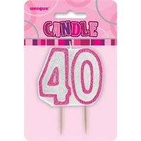 40 Birthday Candle Pink Glitz