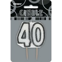 40 Birthday Candle Black Glitz