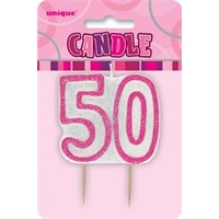 50 Birthday Candle Pink Glitz