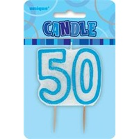 50 Birthday Candle Blue Glitz