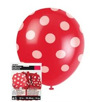 12in Polka dot Red Balloons - Pk 6