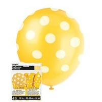 12in Polka dot Yellow Balloons - Pk 6