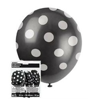 12in Polka dot Black Balloons - Pk 6