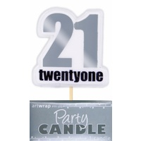 21 Birthday Candle - Silver