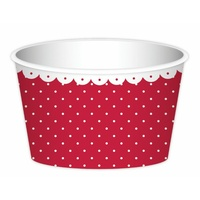 Icecream Cups (Red & White) with Spoons - Pk 6