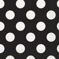Polka Dot 2 Ply Lunch Napkin- Black - Pk 16
