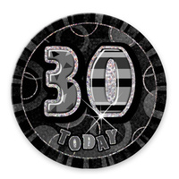 "Glitz Black 6"" 30th Birthday Badge"
