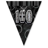 100th Glitz Flag Banner Black - 3.6m