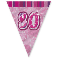 80th Flag Banner (Pink Glitz) - 3.6m Long