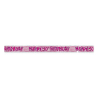 Happy 80th Birthday Glitz Pink Foil Banner -3.6m