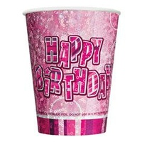 Glitz Pink 270ml Happy Birthday Cups - Pk 6