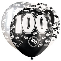 12in 100th Birthday Printed Balloons (Black Glitz) - Pk 6