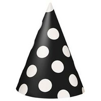 Black Polka Dot Party Hats - Pk 8