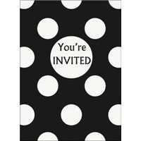 Black Polka Dot Invitations- Pk 8*