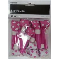 Hot Pink Polka Dot Blowouts- Pk 10