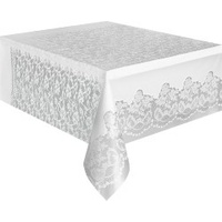 White Lace Plastic Rectangle Table Cover