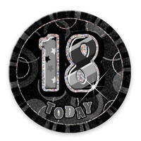 "Glitz Black 6"" 18th Birthday Badge"