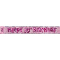 Happy 18th Birthday Glitz Pink Foil Banner- 3.6m Long