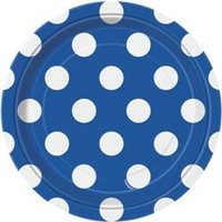 Royal Blue Polka Dot Plates - 7 in - Pk 8
