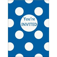 Royal Blue Polka Dot Invitations- Pk 8*