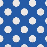 Polka Dot 2 Ply Lunch Napkin- Royal Blue - Pk 16