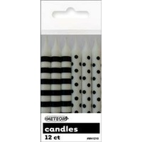 Black Polka Dot & Stripes Candles - Pk 12