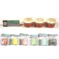 Icecream Cups(Stripes) with Spoons - Pk 6