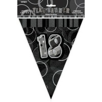 18th Flag Banner (Black Glitz) - 3.6m Long