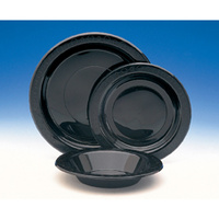Disposable 180mm Plastic Plate Round Black - Pack Of 50