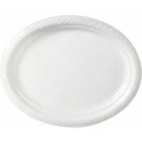 Disposable 285X215mm Plastic Plate Oval White - Pack Of 50