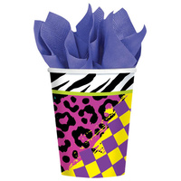 Totally 80's Printed Cups 9oz - Pk 8